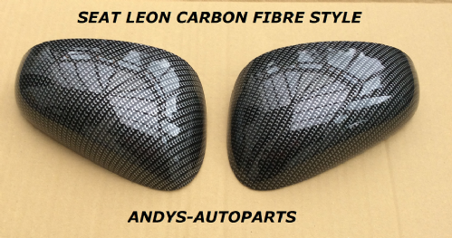 SEAT LEON 2005 - 2009 WING MIRROR COVER PAIR L/H & R/H IN CARBON FIBRE STYLE